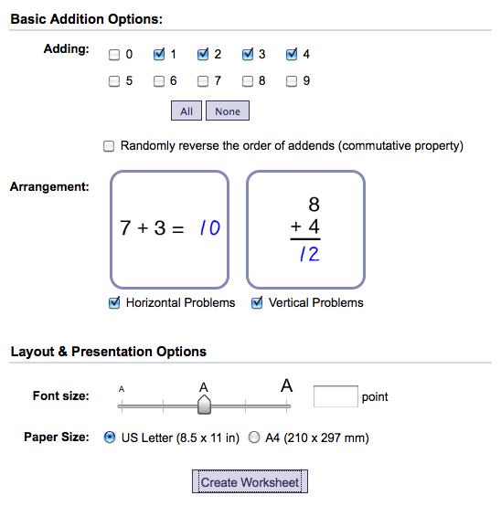 Create math worksheets online free